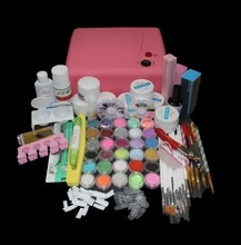 Nail Pro 36W Pink UV Dryer Lamp 30 Color Acrylic Powder Gel Tips Nail Art Tools Set BTT-121