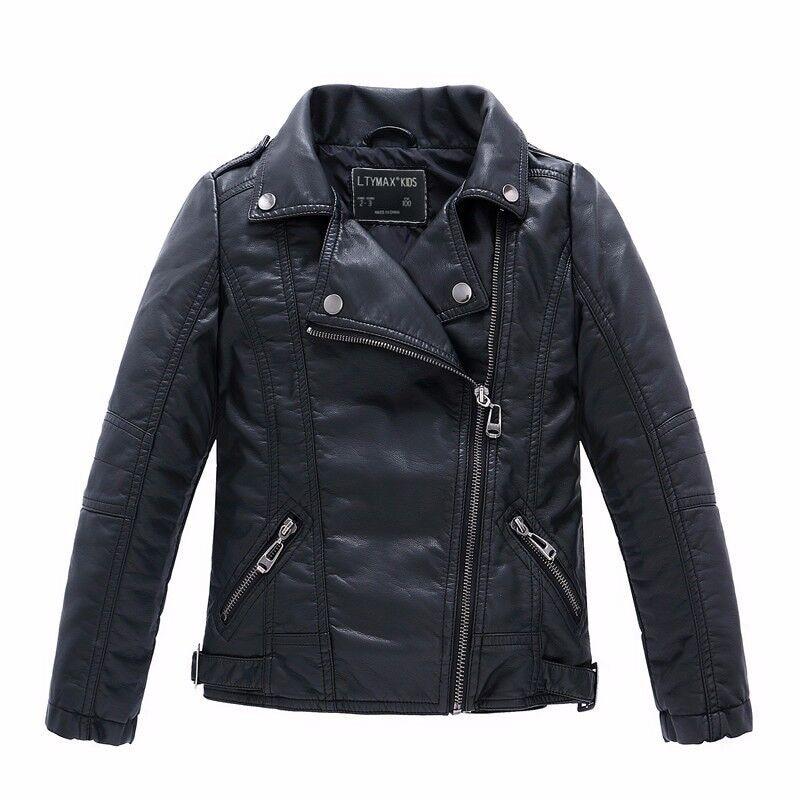 ماركة الموضة الكلاسيكية بنات بنين سترات من الجلد الأسود الطفل معطف ل 100-160 سنتيمتر