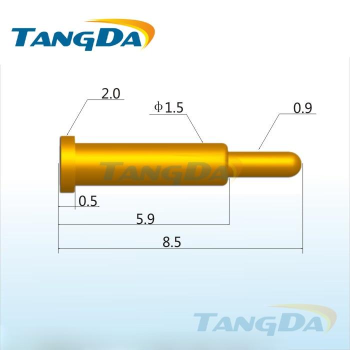 Tangda-موصل دبوس pogo ، DHL/EMS D2.0 * 8.5 مللي متر 1A ، شحن ، اتصال ، جهاز كشتبان ، مسبار اختبار PCB ، مسبار زنبركي