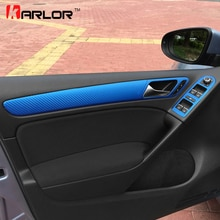 Bouton de poignée pour Volkswagen Golf 6 MK6   Décoration de porte, panneau dinterrupteur de fenêtre, Film en Fiber de carbone, autocollants accessoires de style de voiture
