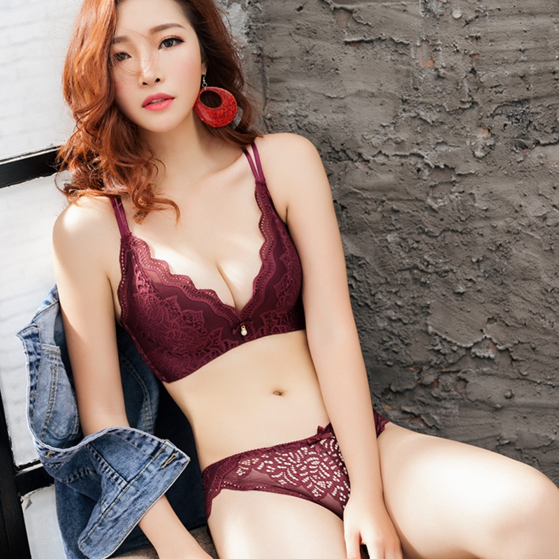 Sexy lady bra set triangular cup no rims lace lingerie gather pop breathable thin brassiere sexy feminine lace jacquard bra enlarge