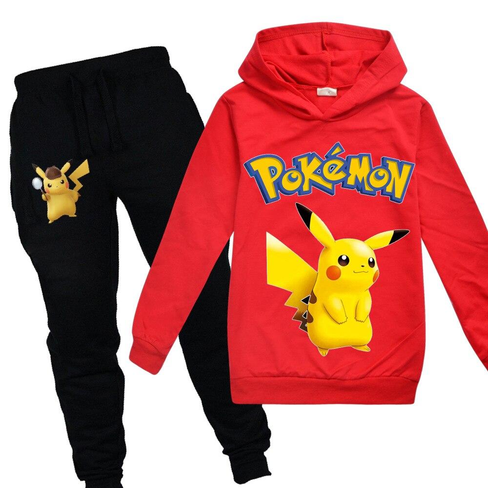 POKEMON ir Detective Pikachu niños Niñas Ropa otoño sudadera 2 uds de algodón de dibujos animados de manga larga Deporte Sudaderas con capucha camiseta
