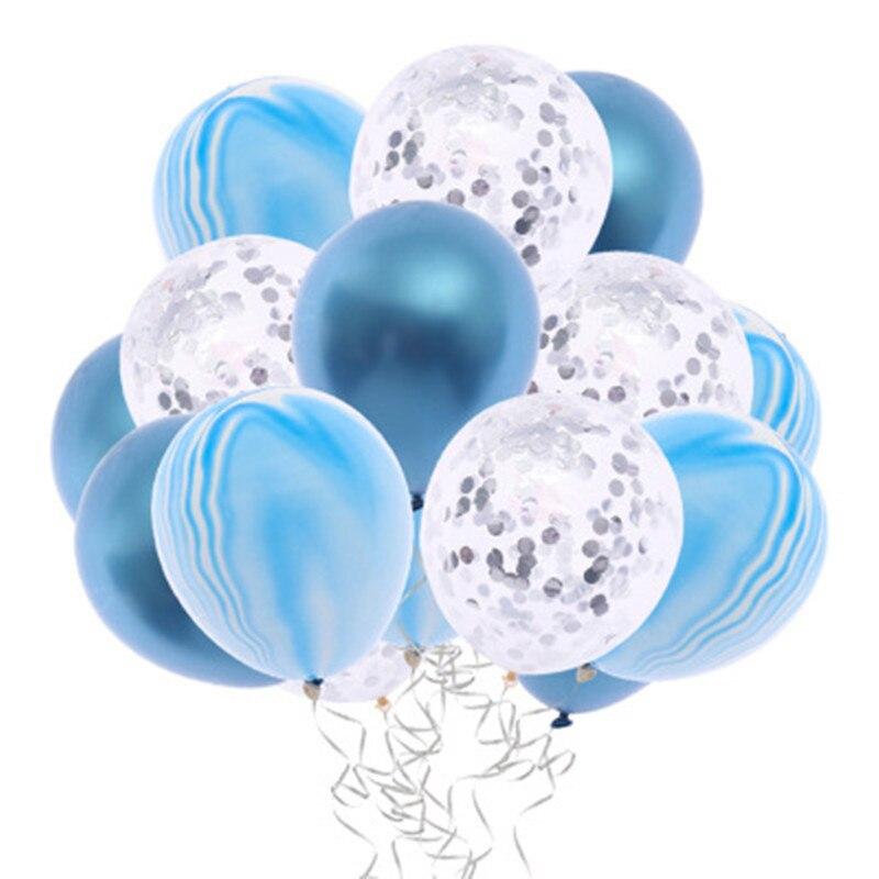 12pcs Blue Metallic Balloon Wedding Balloons Latex Metal Chrome and Agate Sequin Baby Shower Balloons Air Balon Helium Baloon