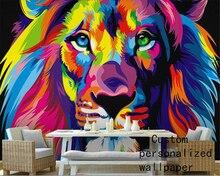 Beibehang-papier peint décoratif   Papier peint personnalisé, peinture à lhuile abstraite, tête de lion, décoration murale 3d, pour la maison