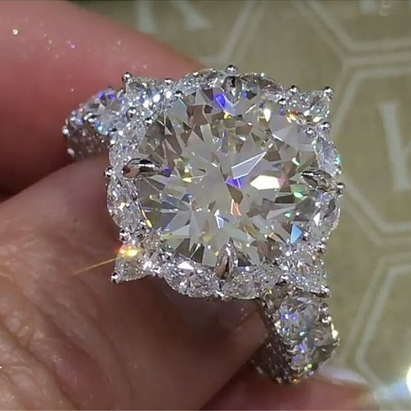Luxo princesa anel brilhante corte branco zircão cristal anéis para mulheres casamento jóias anel de noivado bague anillos l5q251