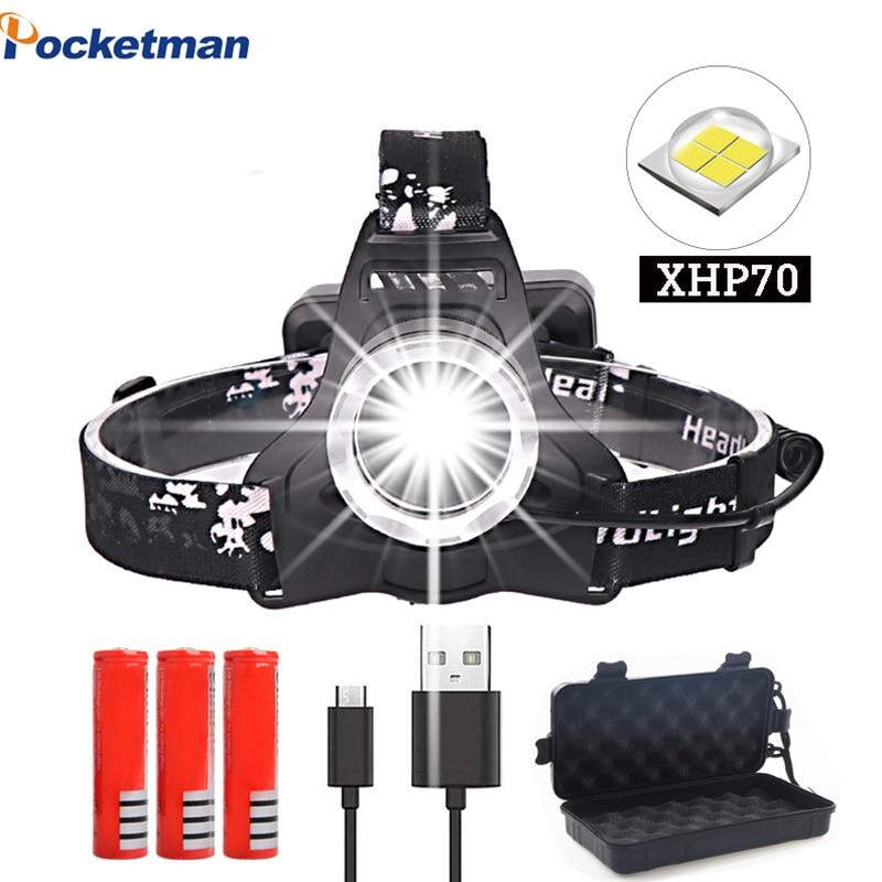 Powerfull xhp70 faro Super brillante Led recargable usb linterna xhp70 linterna 3*18650 batería para pesca camping