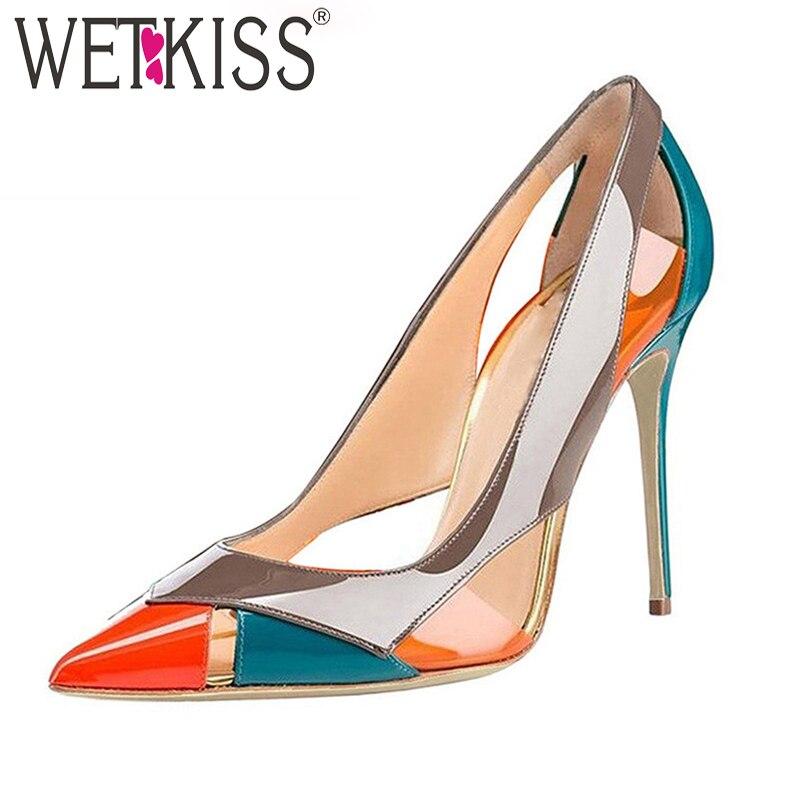 WETKISS-حذاء نسائي بكعب عالٍ ومقدمة مدببة ، حذاء ملون مخيط ، للحفلات ، مقاس كبير 45 2021