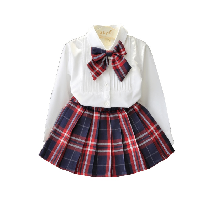 Primary school and middle uniforms New Style Fashion Solid Color Shirt + Plaid Skirt Two Piece Uniform