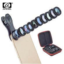 APEXEL 10in1 Telefoon Camera Lens Kit Fisheye Groothoek Telescoop Macro Mobiele Lenzen Voor iPhone Samsung Redmi 7 Huawei Mobiele telefoon