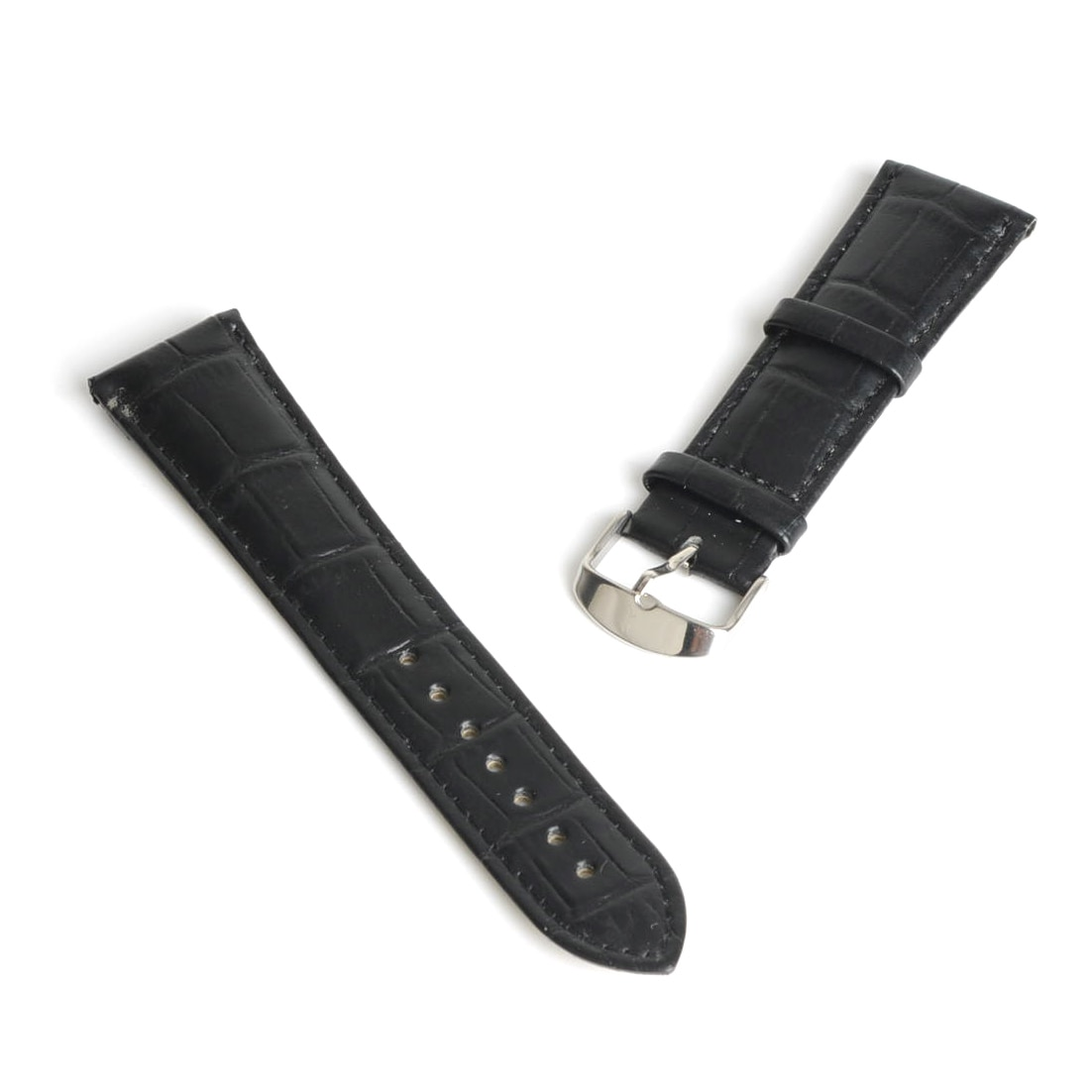 22mm Durable Black Genuine Leather Watch Band Strap Alloy Buckle Watchband Men Boy Gift SB0476