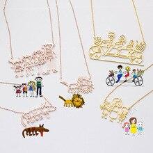 Réel enfants dessin collier enfants illustration collier enfant Art cadeau personnalisé cravate cadeau pour maman grand-mère cadeau