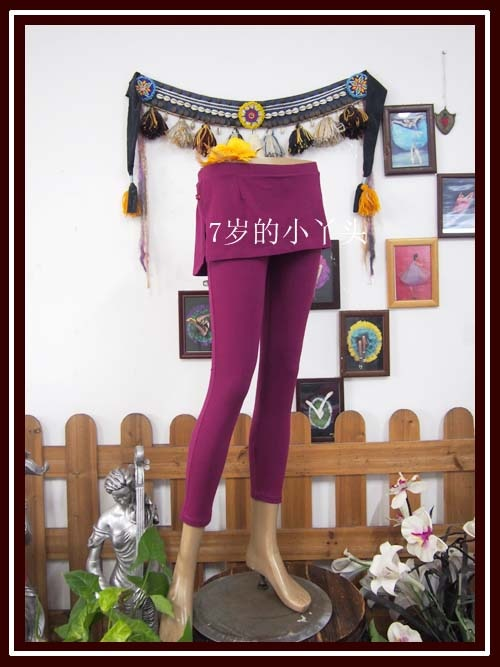Lycra Cotton Belly Dance Yoga Tight Ninth Pants Fitting Dody Buiding Fitness Trousers Slim Leggings With Skirt H779 94