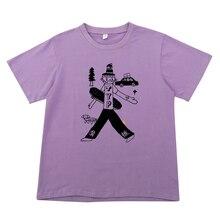 Casual Women Summer T-shirts O Neck Cartoon Print Ladies Cotton Purple White Tee Tops Tshirts Chic