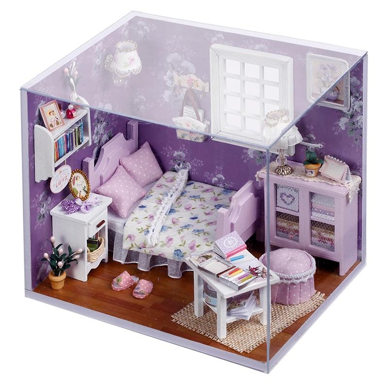 1/12 Diy 3D Children Handmade Wooden Doll House Led Light Toy Purple Assemble Furniture Miniatura Miniature Model Doll Jouet