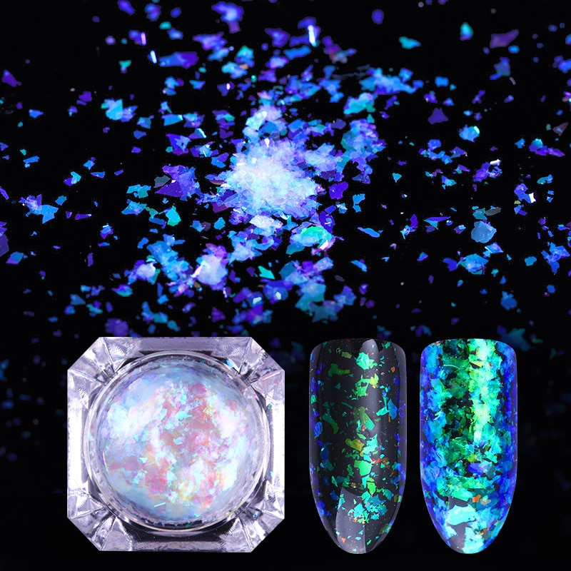 1 caja 0,2g Multi Flakies camaleón nube brillante Paillette polvo uñas lentejuelas brillo Irregular Galaxy Flakes