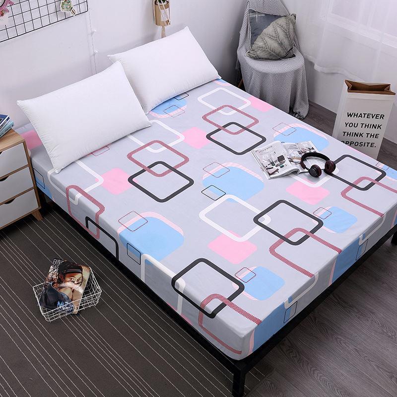 Sábana de poliéster ajustada con banda elástica banda de goma Deep 25 cm Funda de colchón ropa de cama sábana de cama colorida impresión geométrica