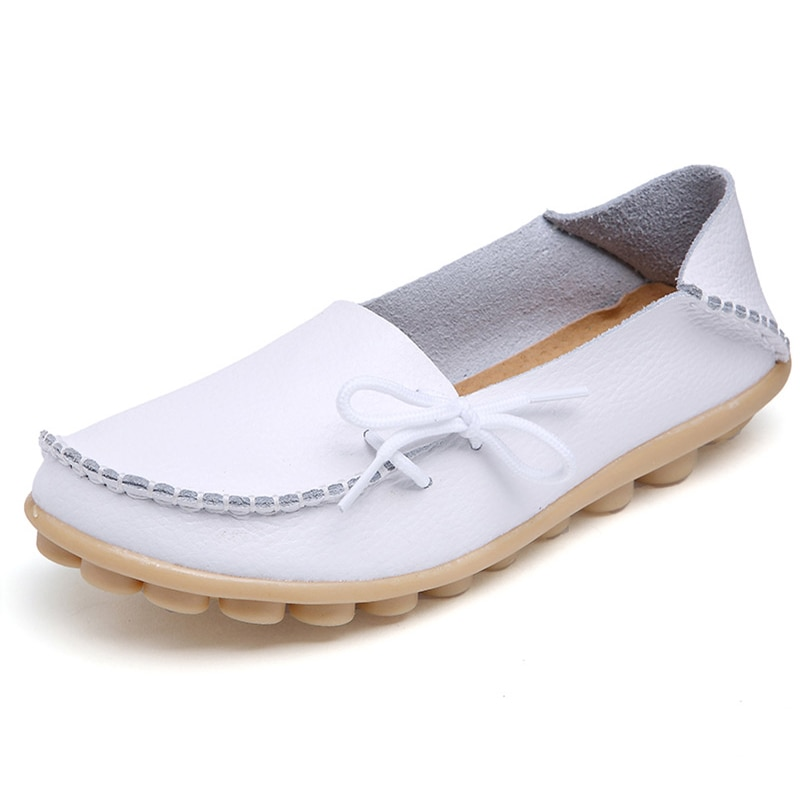 Zapatos planos para mujer, zapatos de cuero genuino, mocasines para madre, mocasines suaves para conducir, Calzado tipo ballet