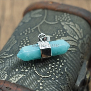 P15043002  Amazonite Stone Double Terminated Pendant with Rhodium Electroplated Edge and Bails