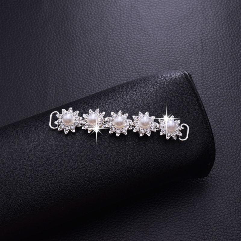 5pcs 1.5*8cm White pearl alloy flower bikini connector Sewing buckles Wedding dress Sew on Rhinestone Appliques DIY BK-16