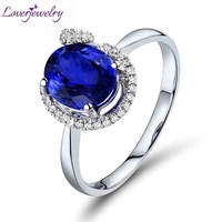 new engagement oval 6x8mm natural diamond tanzanite ring real 18k white gold for women birthday fine jewelry christmas gift r602