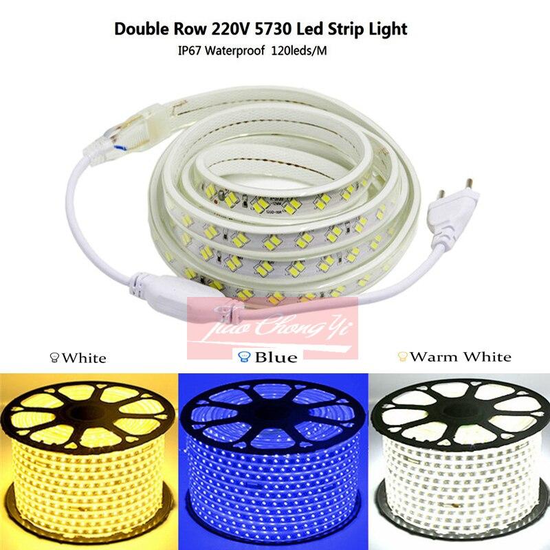 IP67 водонепроницаемая светодиодная лента 220В 5730 120LED/M двухрядная Гибкая лампа с европейской вилкой белый/теплый белый/синий