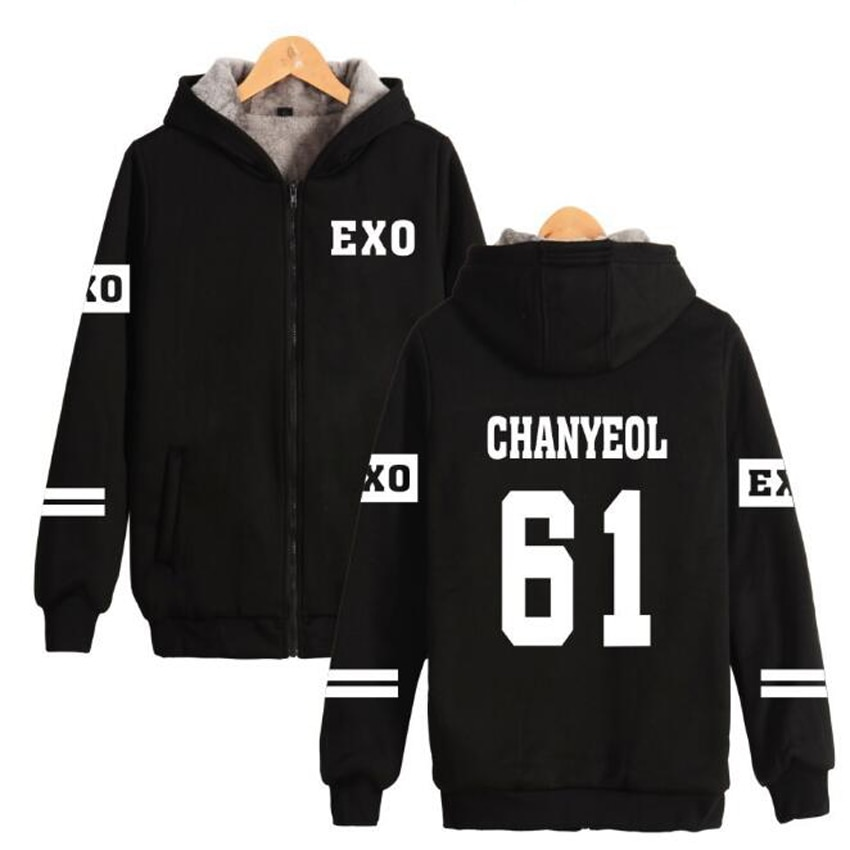 Veste dhiver femmes 2018 coréen EXO KPOP LUHAN XIUMIN CHEN KAI SEHUN CHANYEOL épaississement chaud à capuche sweat-shirt à capuche