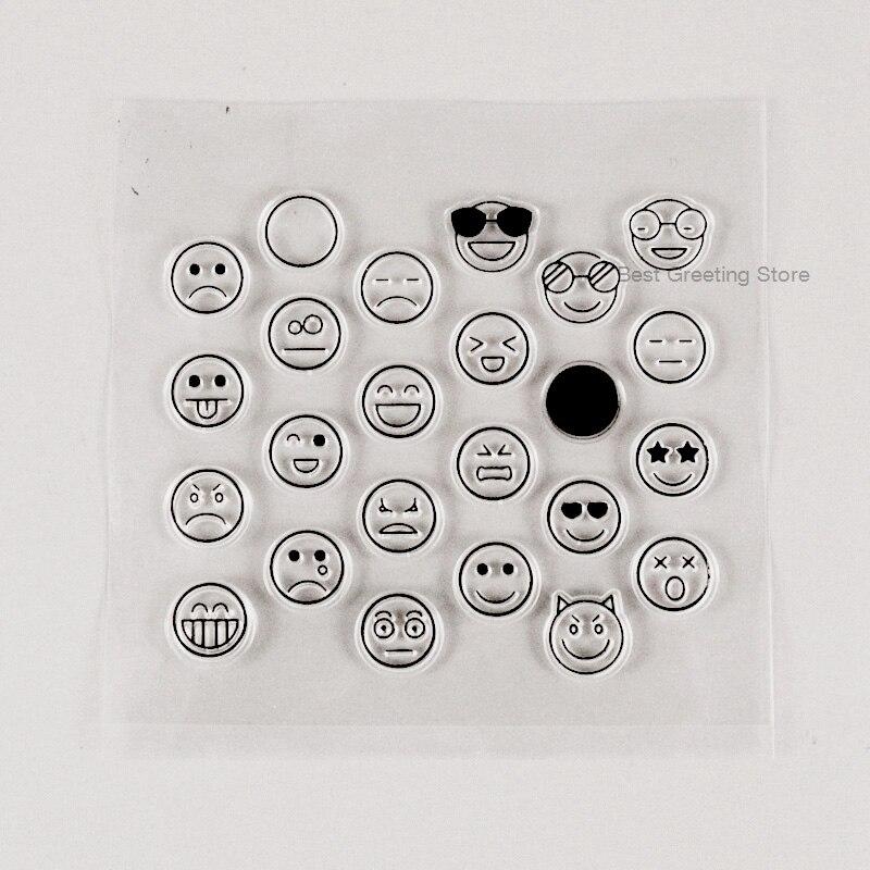Eno de felicitación claro sello 24 ronda expresión Facial sellos para álbum de recortes bala diario sellos planificador