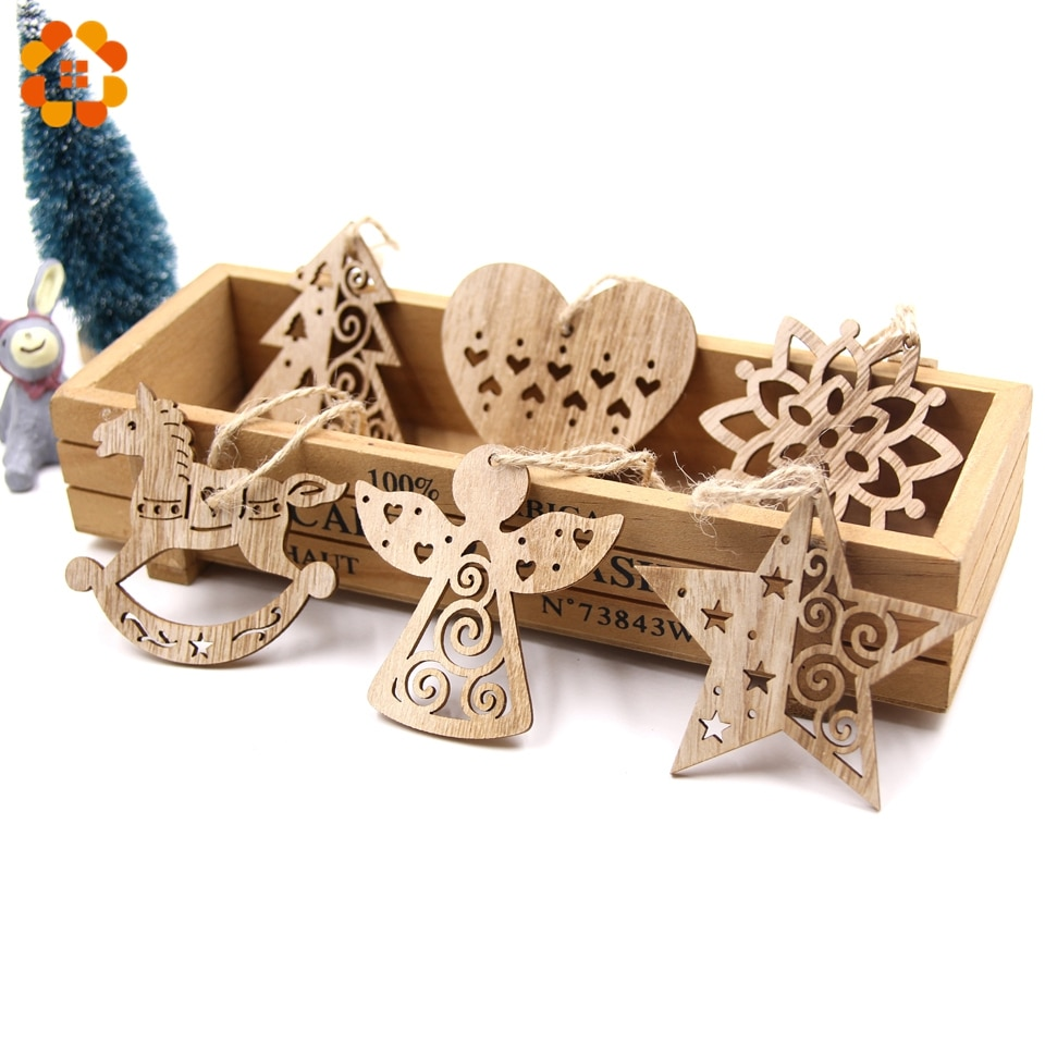 6 шт., европейские полые Рождественские снежинки, Деревянные Подвески, украшения для рождественской елки, украшения для рождественской вечеринки, детский подарок