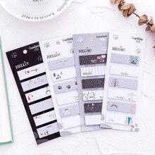 Creatieve Kat Zes Gemakkelijk Memo Pads Dagboek Stickers N Keer postkantoor leren sticky Stickers Briefpapier Leveringen