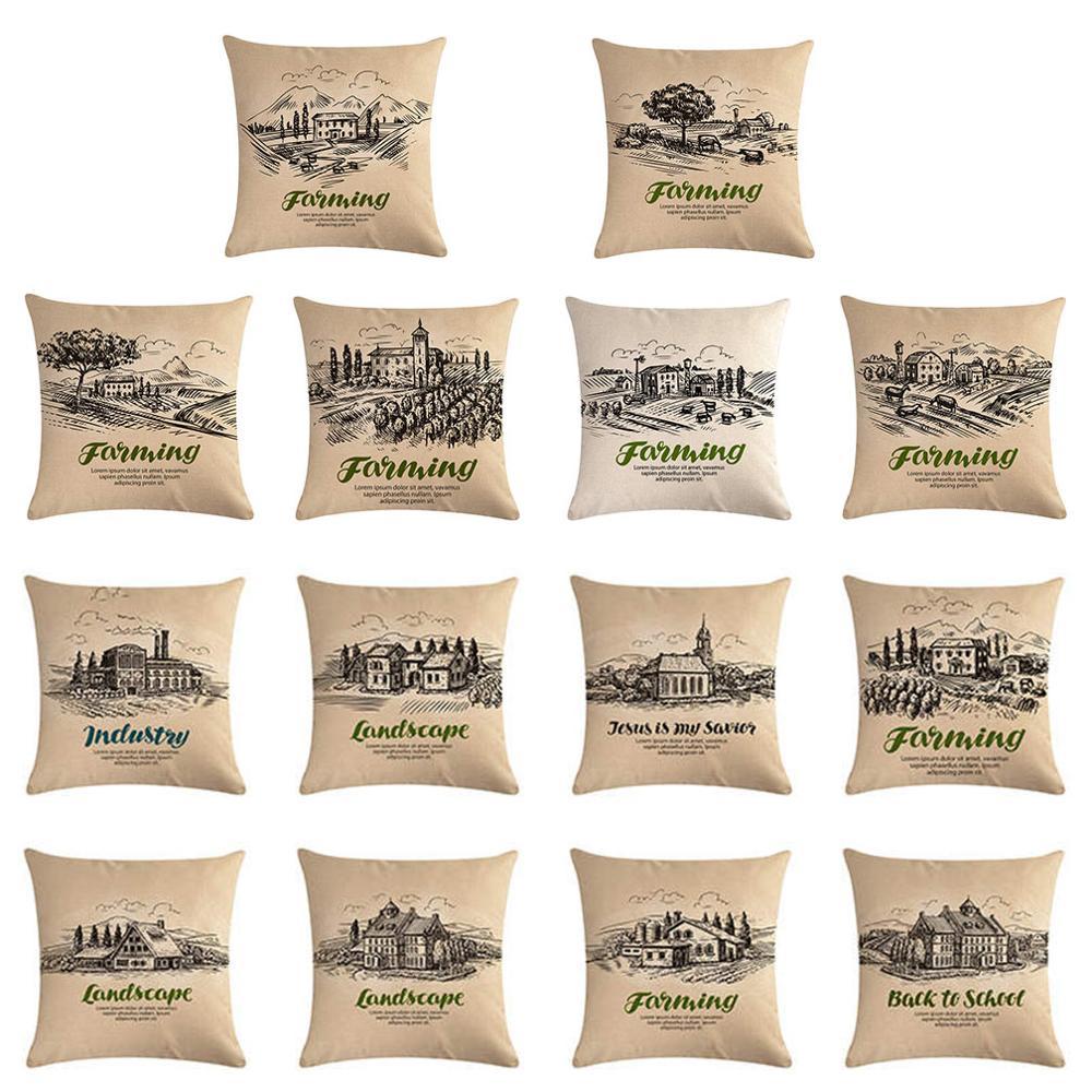 Funda de cojín Vintage para granja, funda de cojín para campo, 45x45 cm, funda de almohada de lino de algodón, decoración para hogar, oficina, sofá, Coche