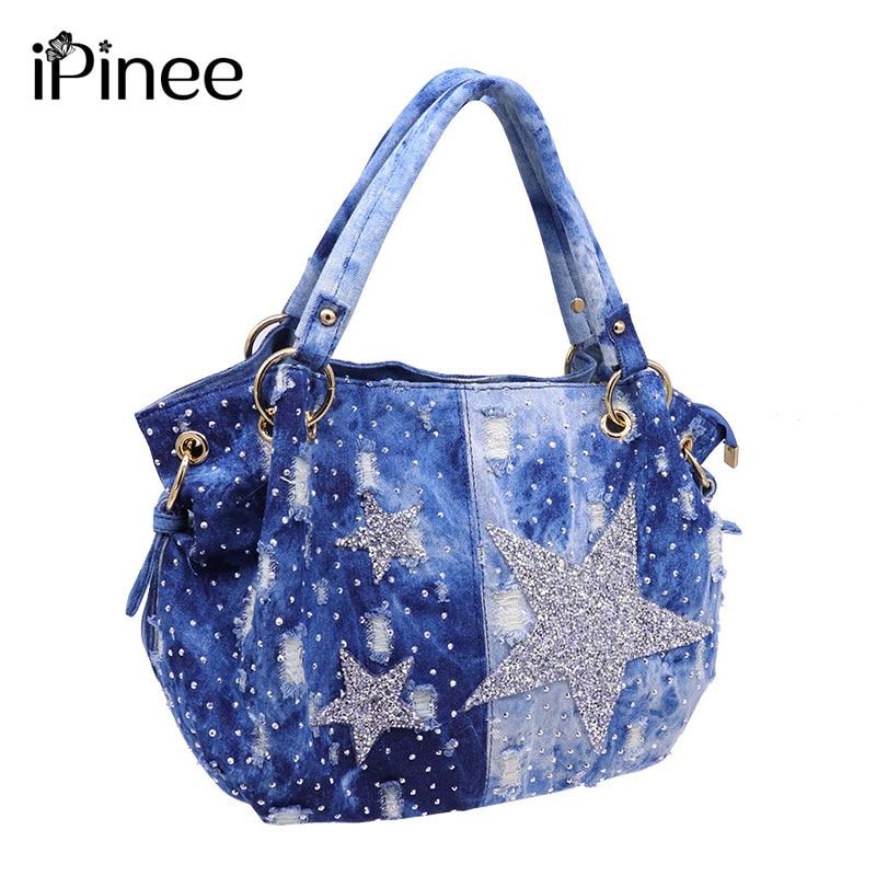 iPinee brand women washed denim handbag female shoulder crossbody bag design hobos top-handle tote bag ladies messenger bags