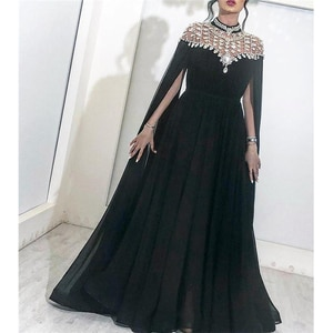Sparkly Black Crystals Arabic Evening Dresses 2019 Yousef Aljasmi High Neck Caped Long Chiffon Cheap African Dubai Celebrity