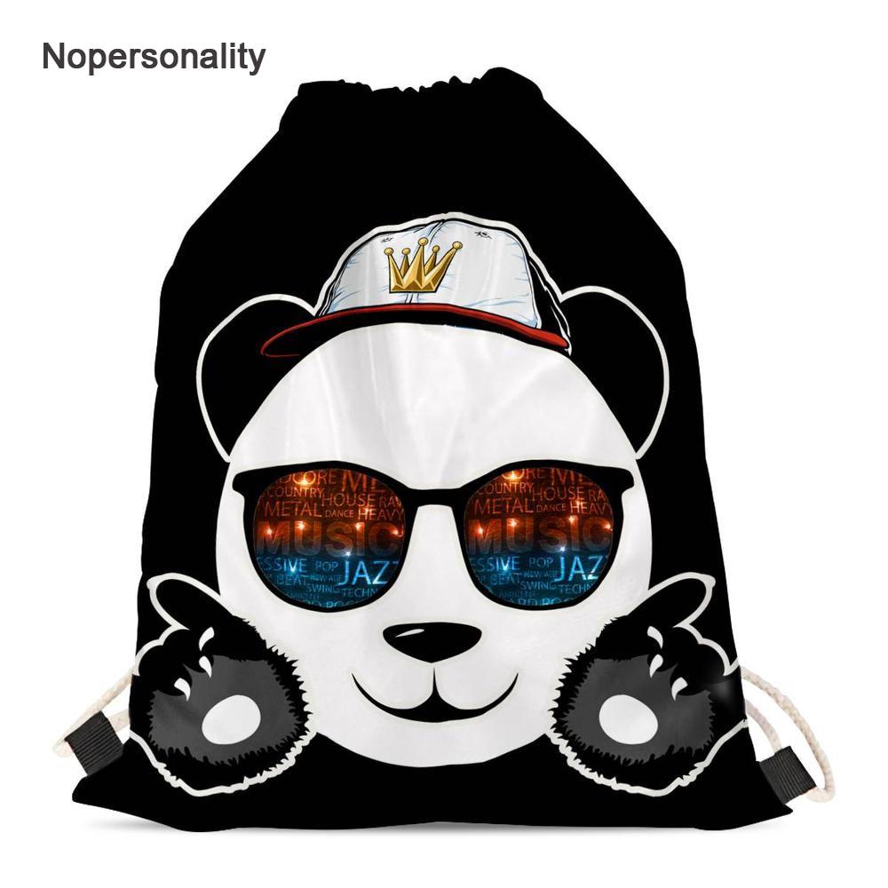 Pacote de Armazenamento Nopersonality Bonito Panda Impressão Drawstring Bolsa Preto Adolescente Meninas Mochilas Escolares Pequenas Crianças Viagem