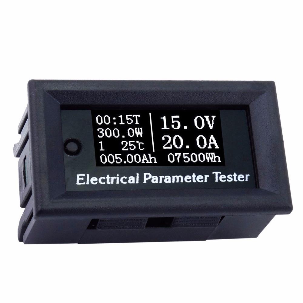 00V/20A 7in1 OLED Multifunction Tester Voltage Current Time Temperature Capacity Voltmeter Ammeter Electrical Parameter Meter