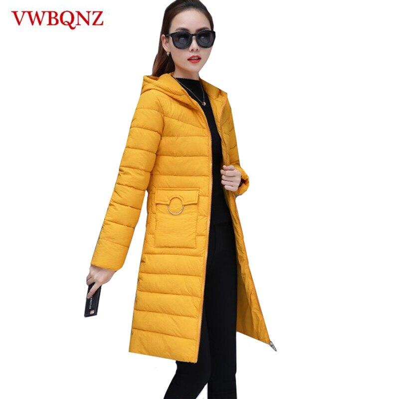 ¡Novedad de 2019! chaqueta de invierno para mujer, Parkas de talla grande 3XL para mujer, abrigos con capucha lisos largos, chaqueta básica de algodón ajustada para mujer
