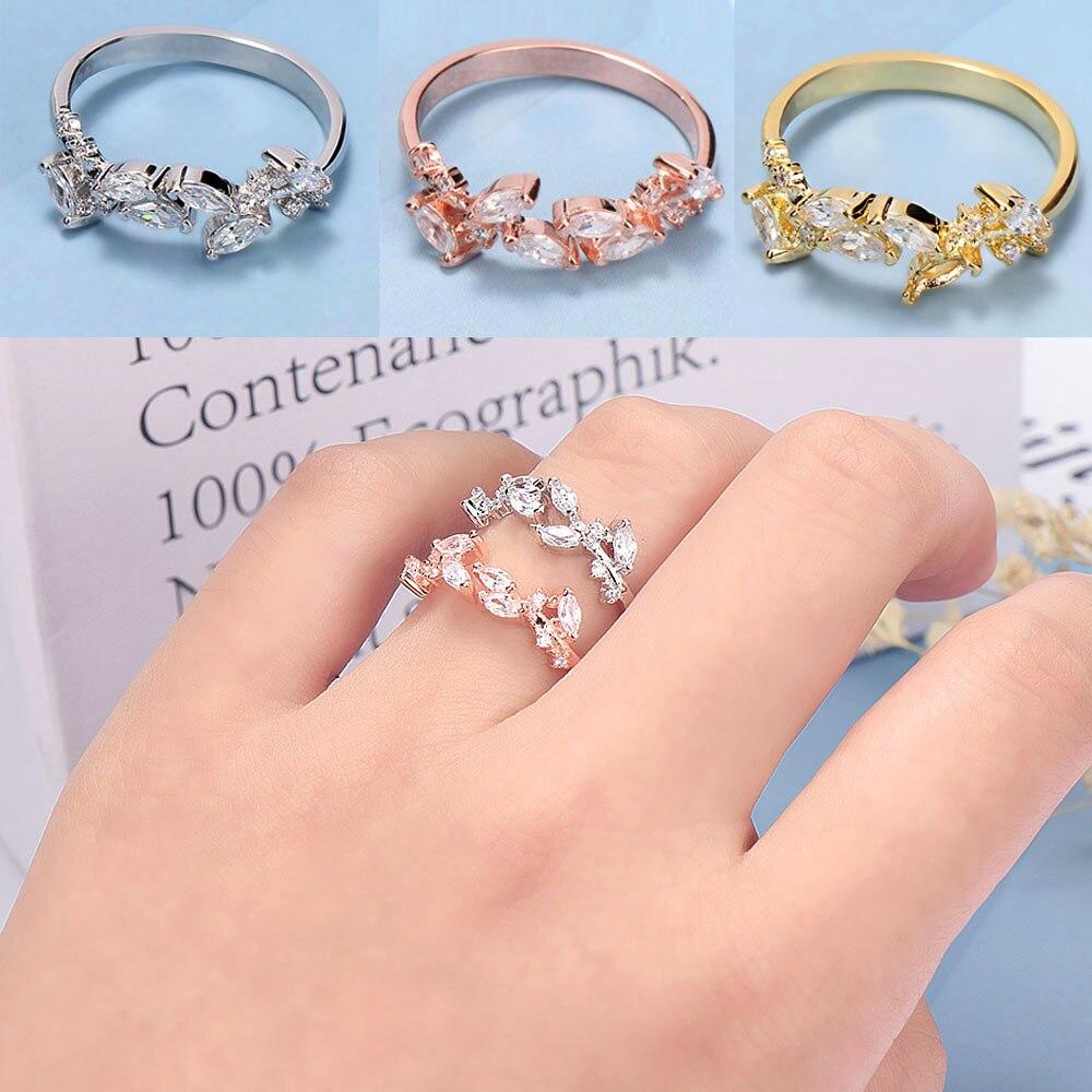 Anillo abierto de hojas para mujer anillos de boda ajustable nudillo dedo joyería