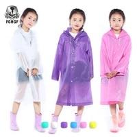 fghgf eva transparent fashion frosted child raincoat girl and boy rainwear outdoor hiking travel rain gear coat for children