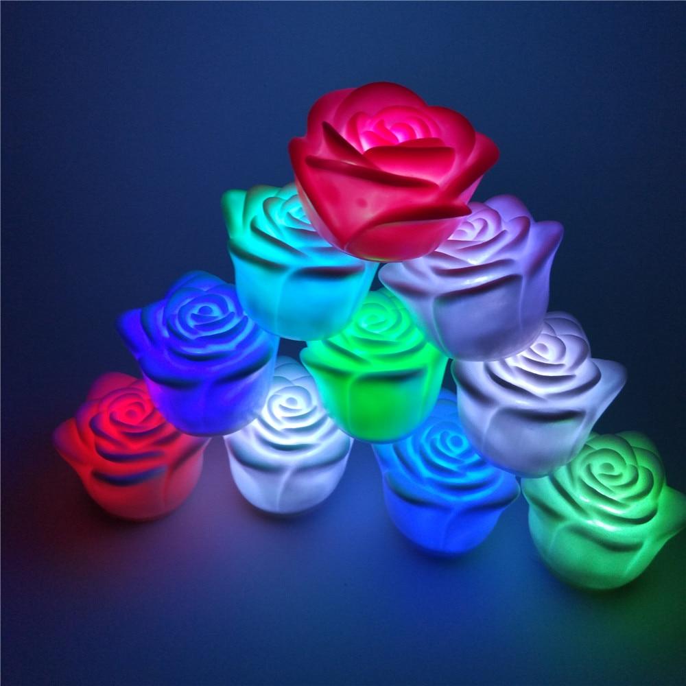 YIYANG Romantic LED Rosa Candle Night Lights Colorido Luces De Vela La Noche LED Romanticas Christmas Lovers Decoration Lights
