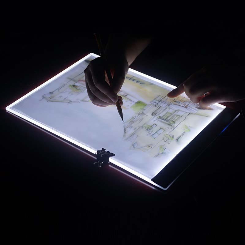 ¡Dimmable! Almohadilla de luz LED para tableta A4 ultradelgada, para aplicar a EU/UK/AU/US/USB, Kit de punto de cruz con bordado de diamantes