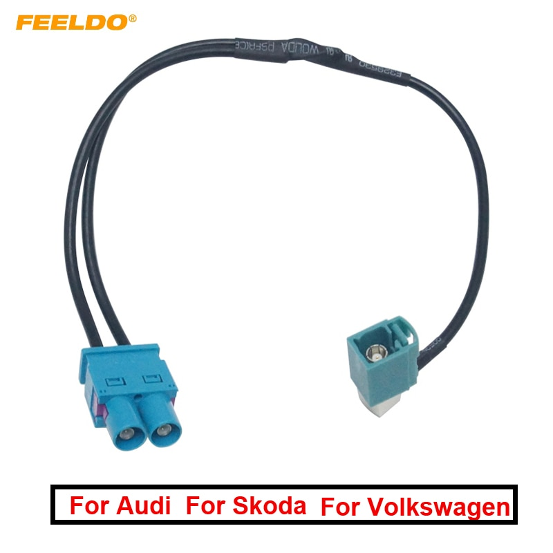 1 pc carro 1-way plug/fêmea para 2-way masculino/jack FAKRA2-Z terminais de antena de rádio com amplificador para volkswagen/skoda unidade principal