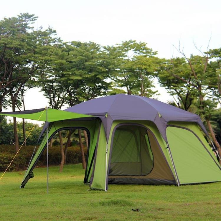 Alltel ultralarge 2 dormitorio doble capa impermeable tienda de campaña Gran gazebo refugio solar tienda familiar