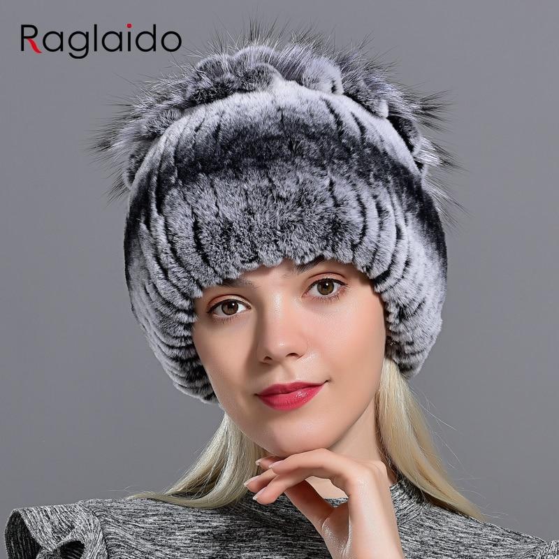 Raglaido Fur Hats for Women Winter Real Rex Rabbit Hat Fox fur kniting female warm snow caps ladies