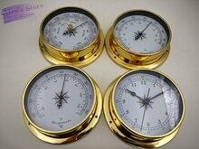 4 pièces/ensemble étui en laiton   Station météo traditionnelle, baromètre température, hygromètre humidité et horloge (cadran blanc) 115mm B9115