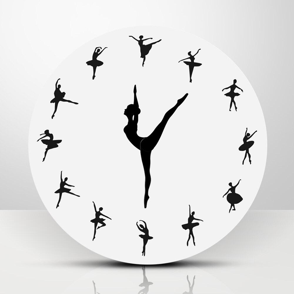Короткие балетные танцовщицы современный дизайн настенные часы очаровательные балерины 3D настенные часы для маленьких девочек детский Де...
