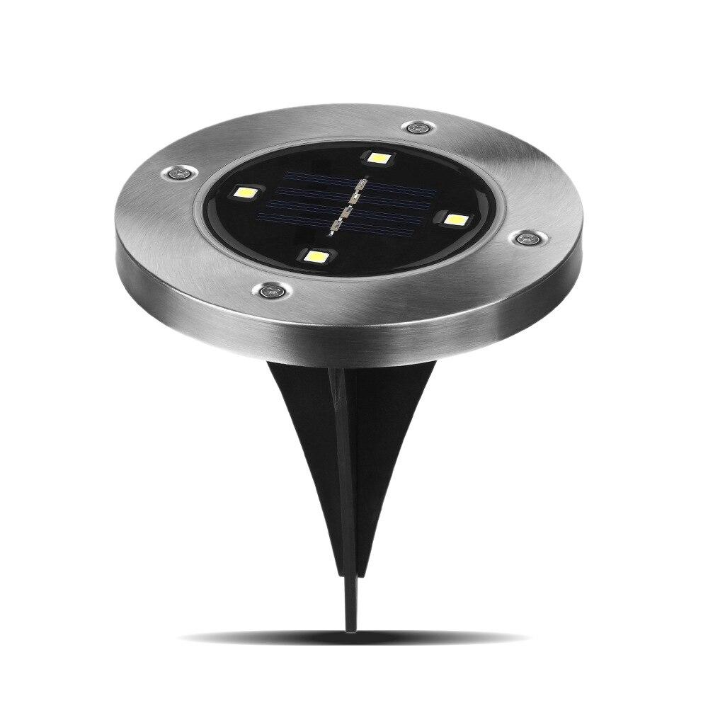 4 LED Solar moderna lámpara de tierra de acero inoxidable luz impermeable patio, césped lámpara de luz de calle