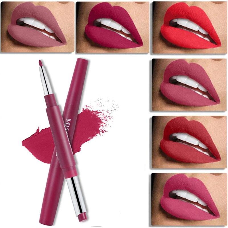 La srta. Rose Dual-terminó lápiz labial y delineador de mate, sedoso labial impermeable desnudo trazador de líneas del labio suave-usando cosméticos de belleza