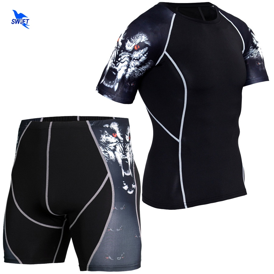 2 шт./компл. мужские компрессионные костюмы для бега и спортивный комплект