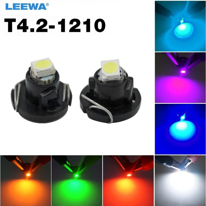 LEEWA 50X DC12V T4.2 1SMD 1210/3528 Panel LED para salpicadero de coche, bombilla LED blanca/roja/azul/verde/amarillo/azul hielo # CA4503