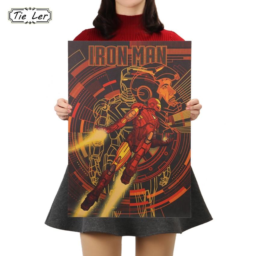 Marvel Hero Iron Man Vintage Kraft Paper Classic Movie Poster Home Decor Art Office School Boys Room Decoration Painting 51X35.5