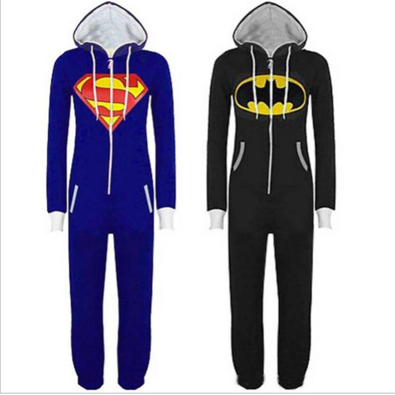 Unisex Das Mulheres Dos Homens Cosplay Trajes de Super-heróis Superman Onesies Pijama Festa de Halloween Do Batman Com Capuz Zip Frente Jumpsuit